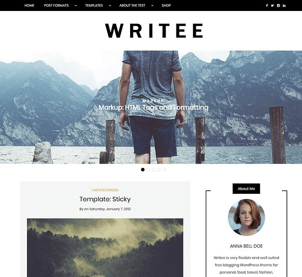 Writee - En İyi Ücretsiz WordPress Temaları
